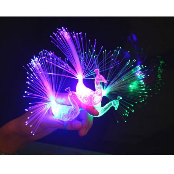 Peacock Finger Light Colorful LED Ring Party Gadgets Children's Educational Toys For Birthday Party Glowing Toys