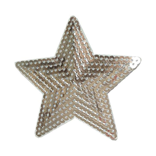 Silver Sequin Star Patch