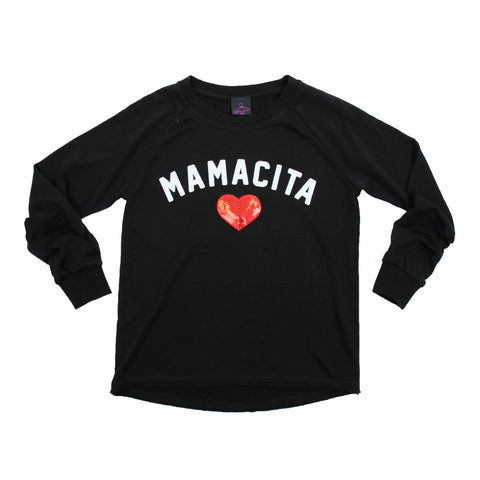 Mamacita Flocked Crew Neck