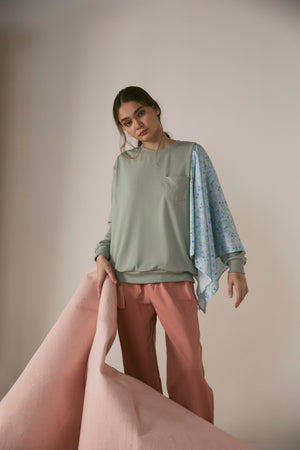 Brisa Crew Neck Sweater in Sage Green
