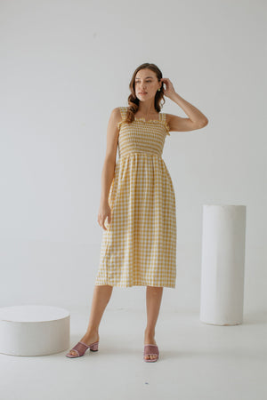 Abrienna Plaid Dress In Yellow