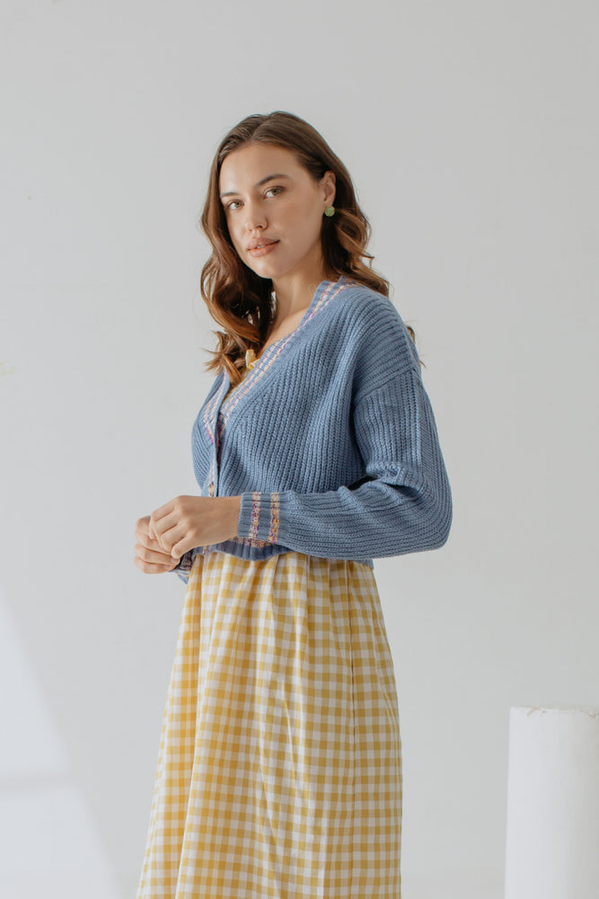 Load image into Gallery viewer, Rebecca Knit Cardigan In Blue