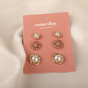 Pearly Threeset Earrings