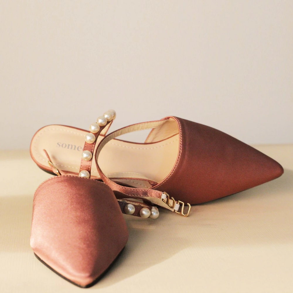 Load image into Gallery viewer, Dean Pink Pearl Mules
