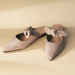 Load image into Gallery viewer, Grey Velvet Mules