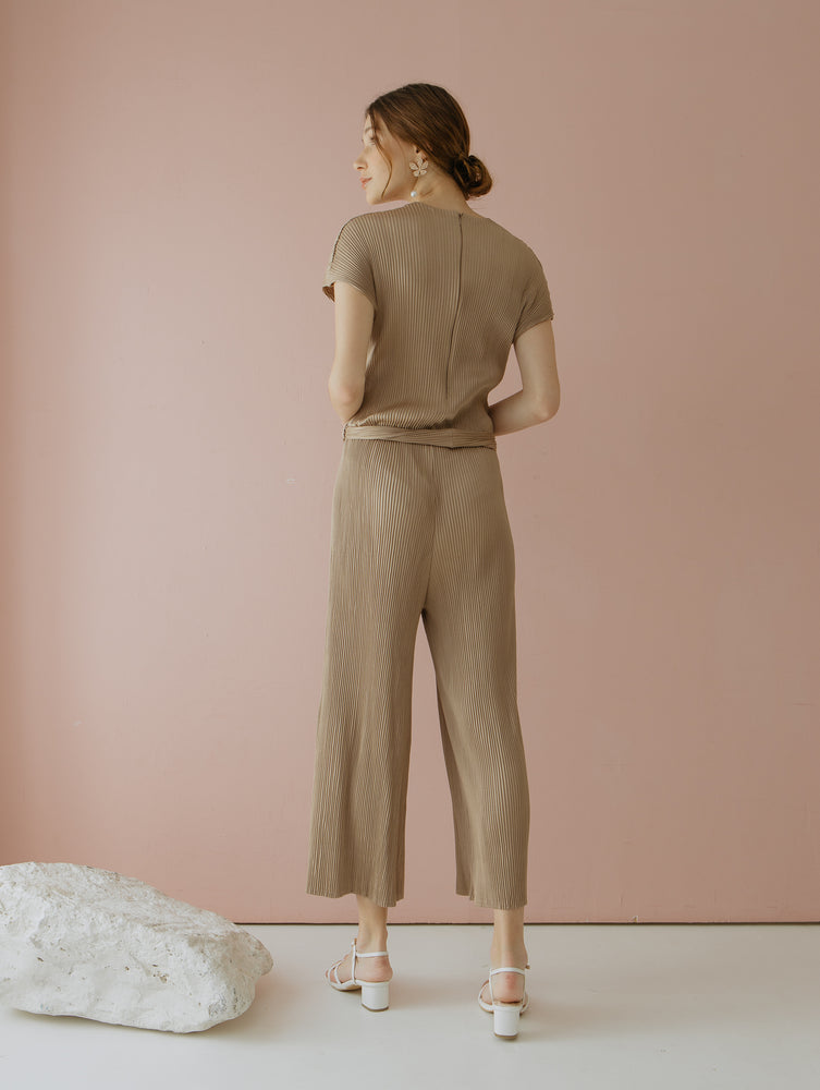 Load image into Gallery viewer, Velery Pleats Jumpsuit in Nude