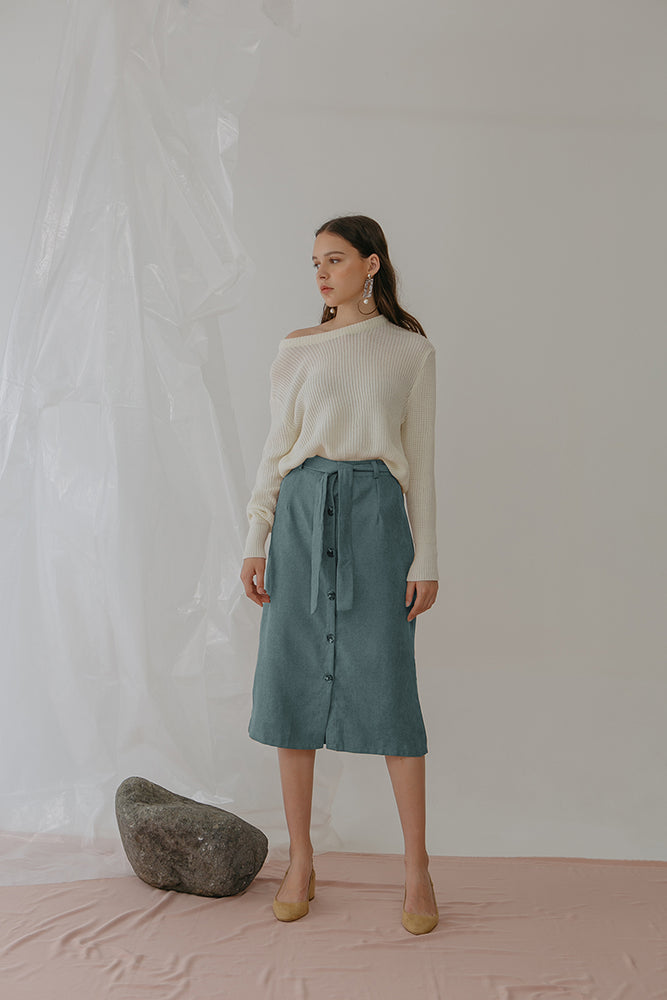 Load image into Gallery viewer, Aubre Button Velvet Skirt