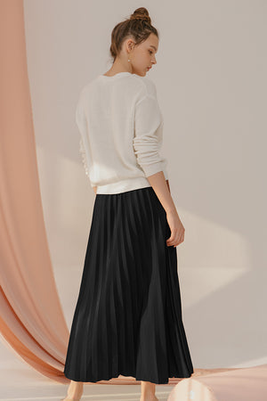 Load image into Gallery viewer, Bianca Black Pleats Skirt