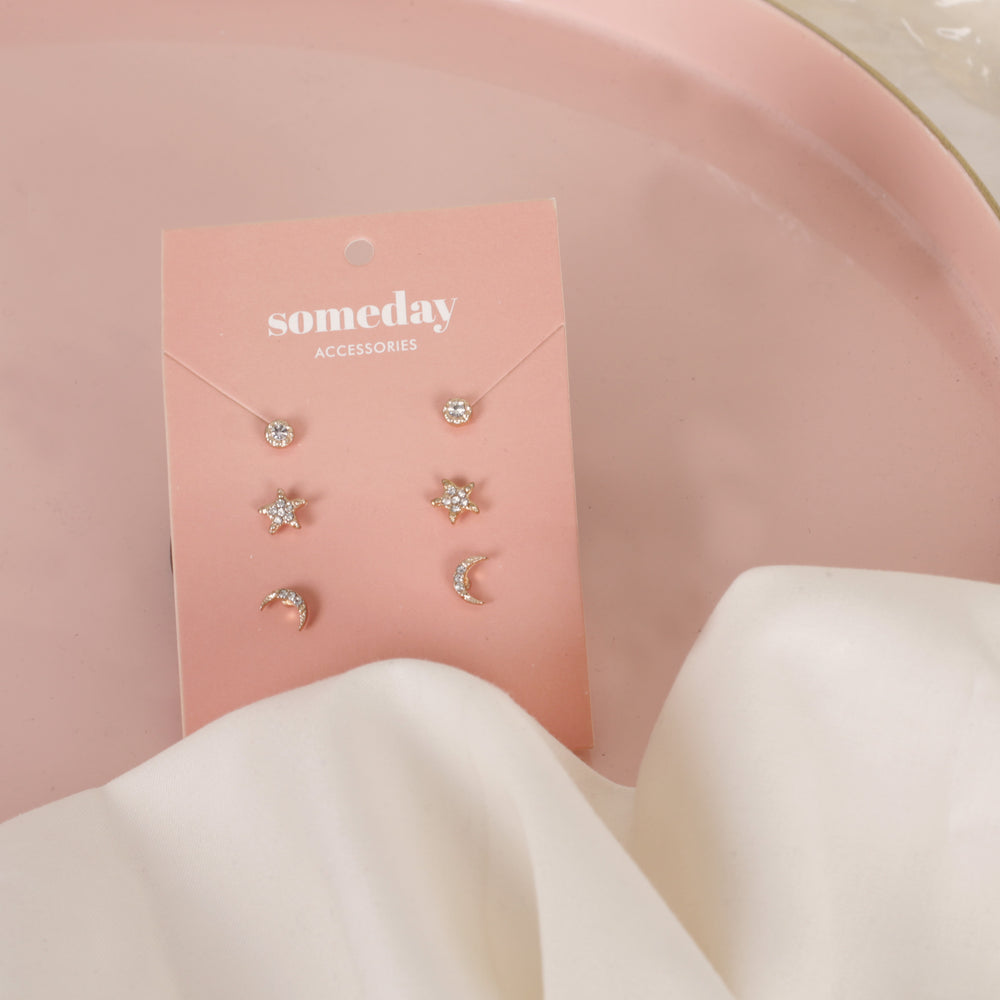 Circle Star Moon Threeset Combo Earrings