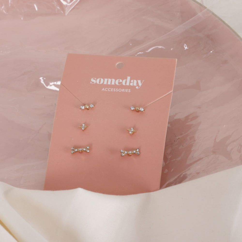 Load image into Gallery viewer, Gold Confetti Threeset Earrings