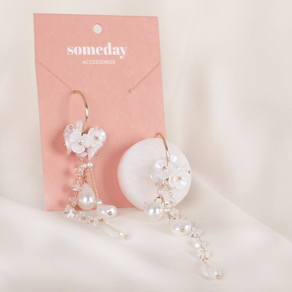 Crystal Flower Long Earrings