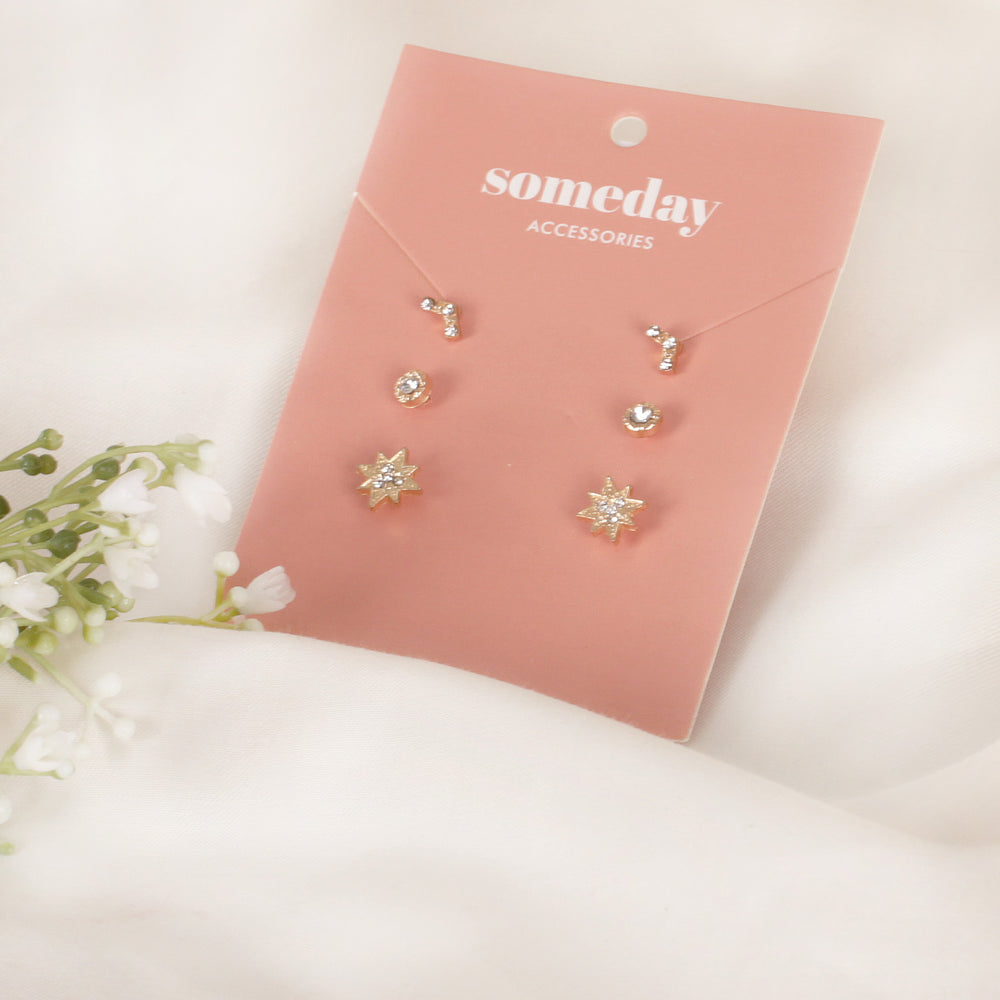 Load image into Gallery viewer, Gold Stars Triset Earrings