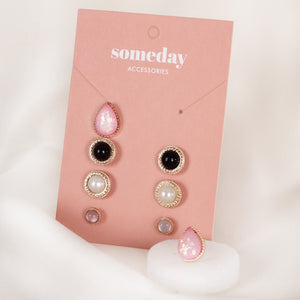 Black Pink Stone Triset Earrings