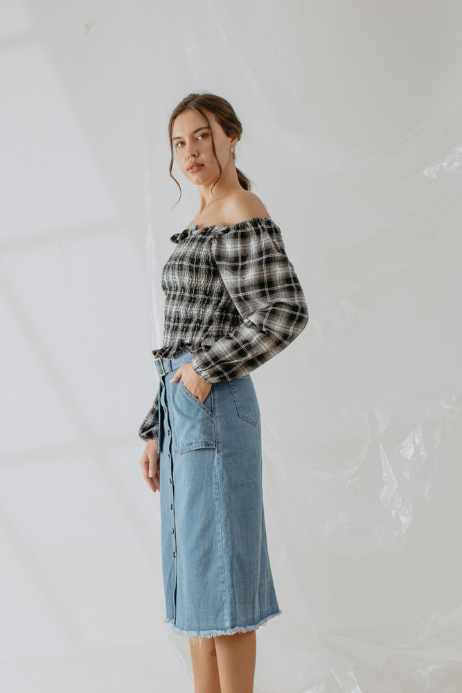 Helene Plaid Smock Top