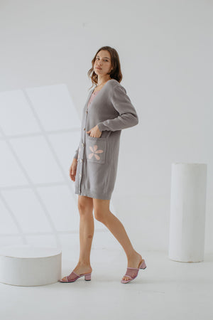 Load image into Gallery viewer, Quelene Knit Cardigan In Grey