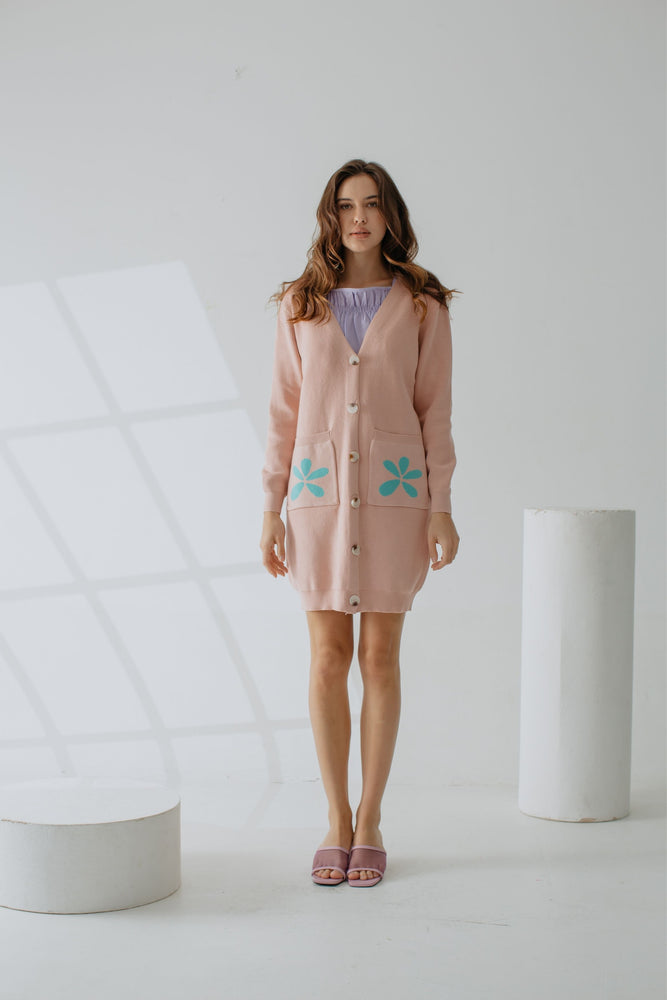 Quelene Knit Cardigan In Pink
