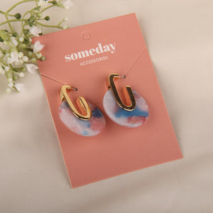 Multicolor Drops Gold Earring