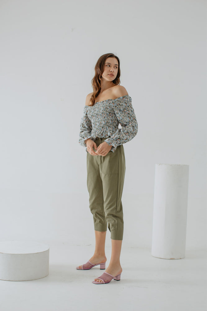 Aline Desire Smock Top In Green