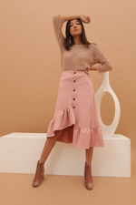 Carissa Pink Flare Suede Skirt