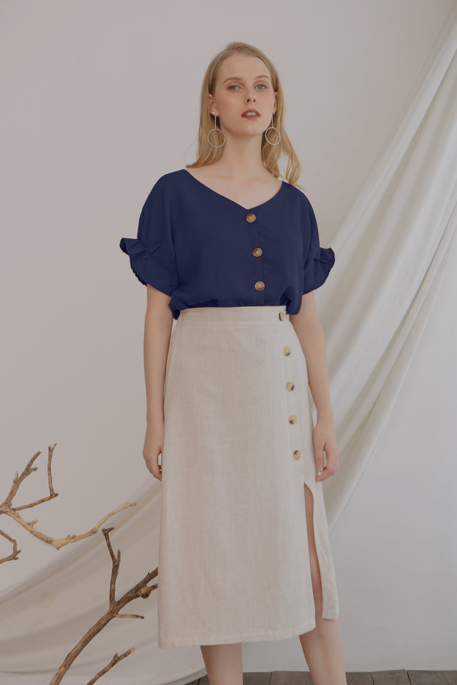 Alley Button Navy Top