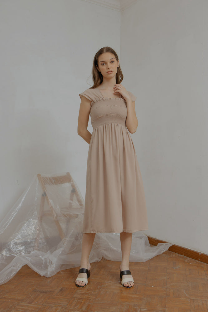 Ingrid Smock Dress in Nude