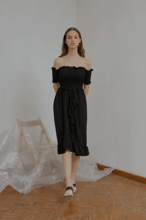 Athena Smock Black Dress