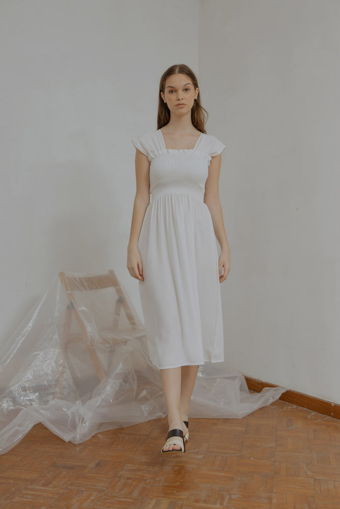 Ingrid Smock Dress in White
