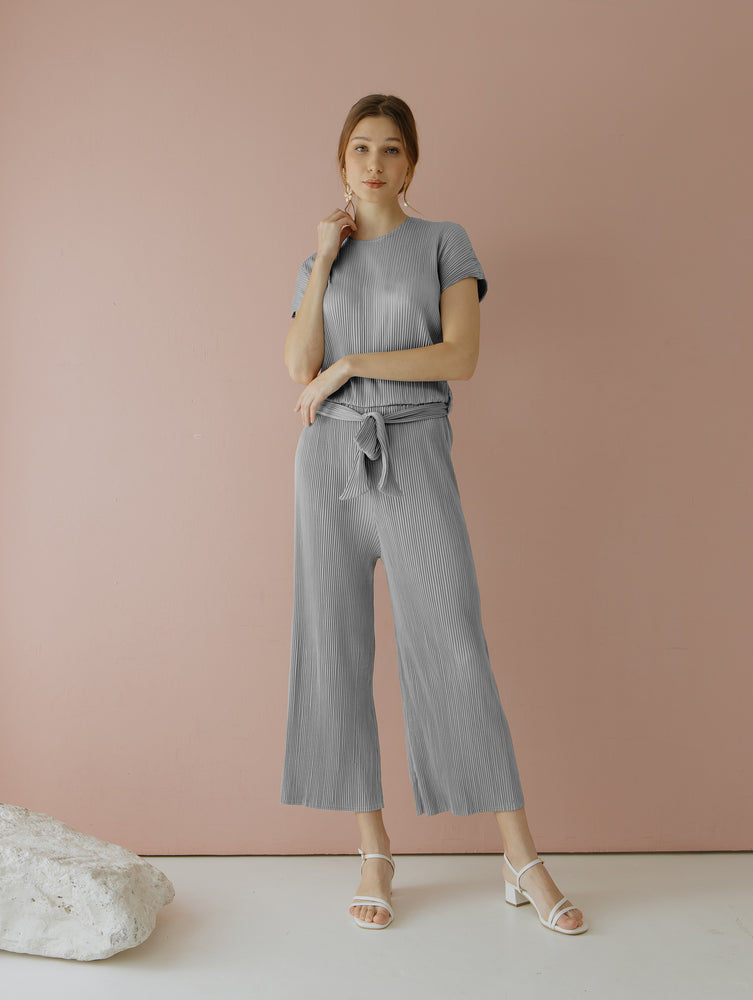Velery Pleats Jumpsuit in Grey