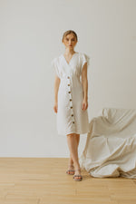 Alina Button Dress in White
