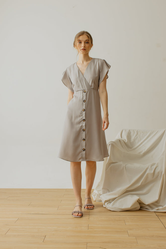 Alina Button Dress in Light Grey