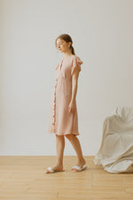 Alina Button Dress in Dusty Pink