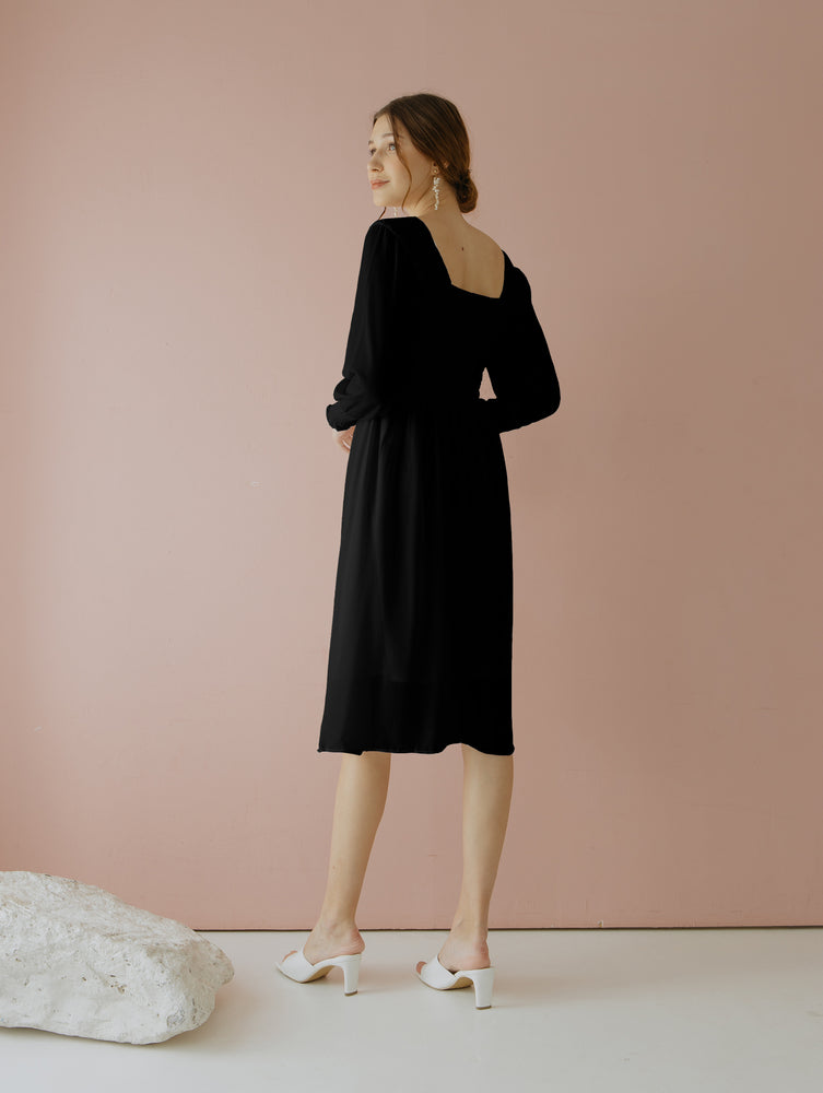 Load image into Gallery viewer, Jehane Black Smock Dress