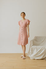 Alina Button Dress in Pink