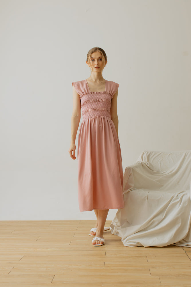 Load image into Gallery viewer, Trinette Smock Sleeveless Dress Pink