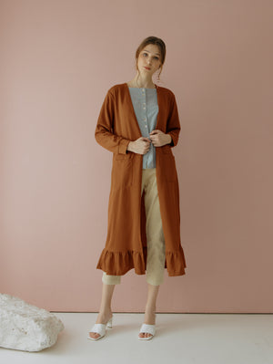 Casbia Long Cardigan Brick