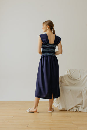 Trinette Smock Sleeveless Dress Navy