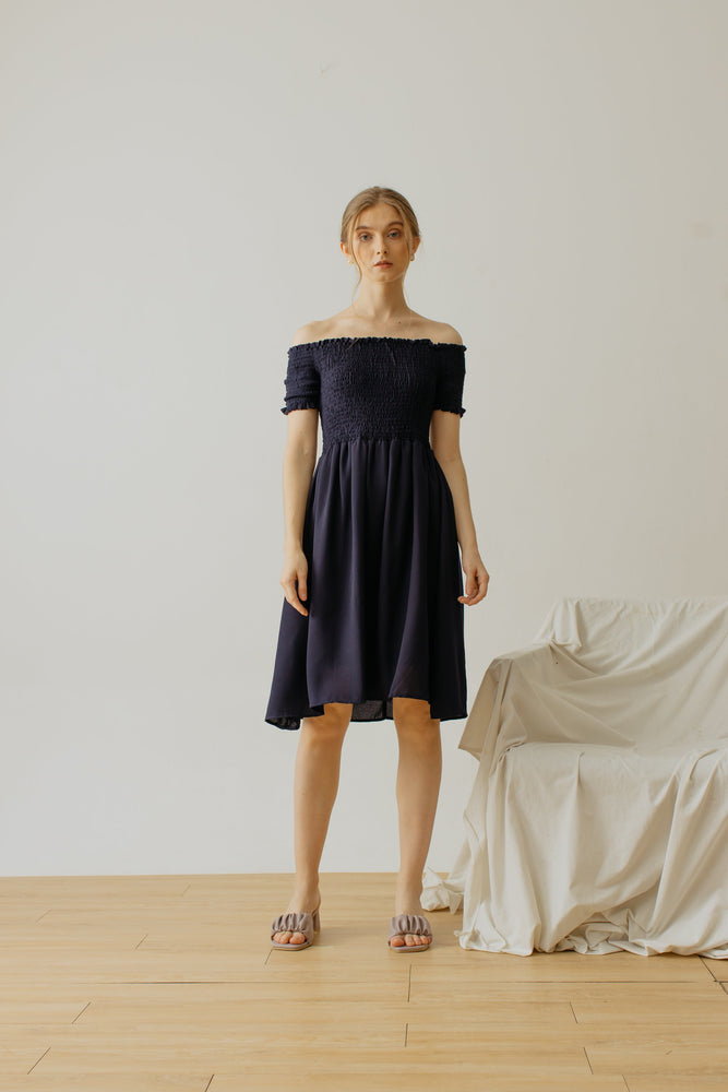 Maurice Smock Dress Navy
