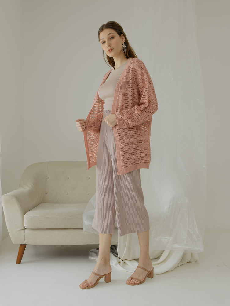 Tyana Pink Knit Wear Cardigan