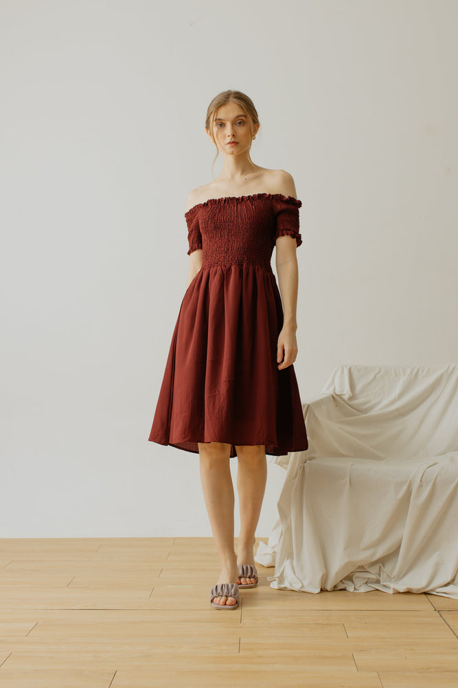 Maurice Smock Dress Maroon