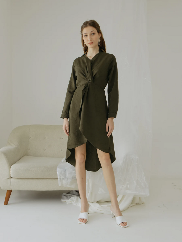 Audrey Waterfall Long Sleeves Dress
