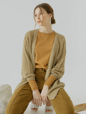 Load image into Gallery viewer, Tyana Brown Knit Wear Cardigan