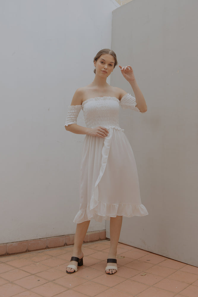Load image into Gallery viewer, Athena Smock White Dress