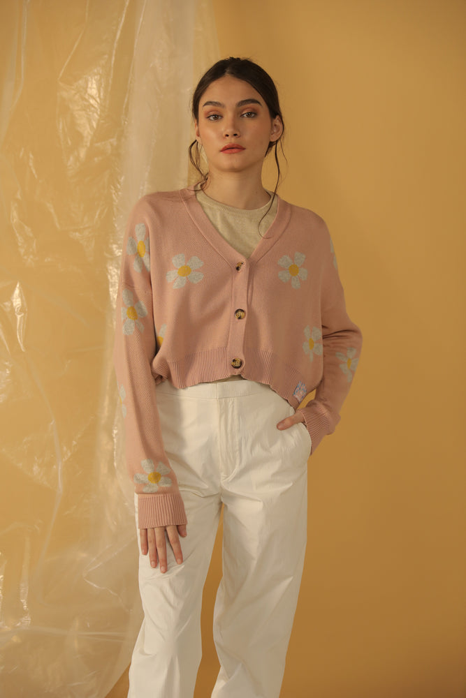 Load image into Gallery viewer, Daisyium Crop Cardi in Pink