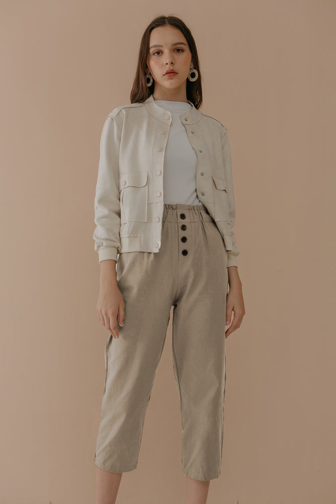 Cream Button Pants