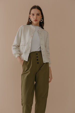Load image into Gallery viewer, Olive Green Button Pants