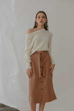 Aubre Button Velvet Skirt