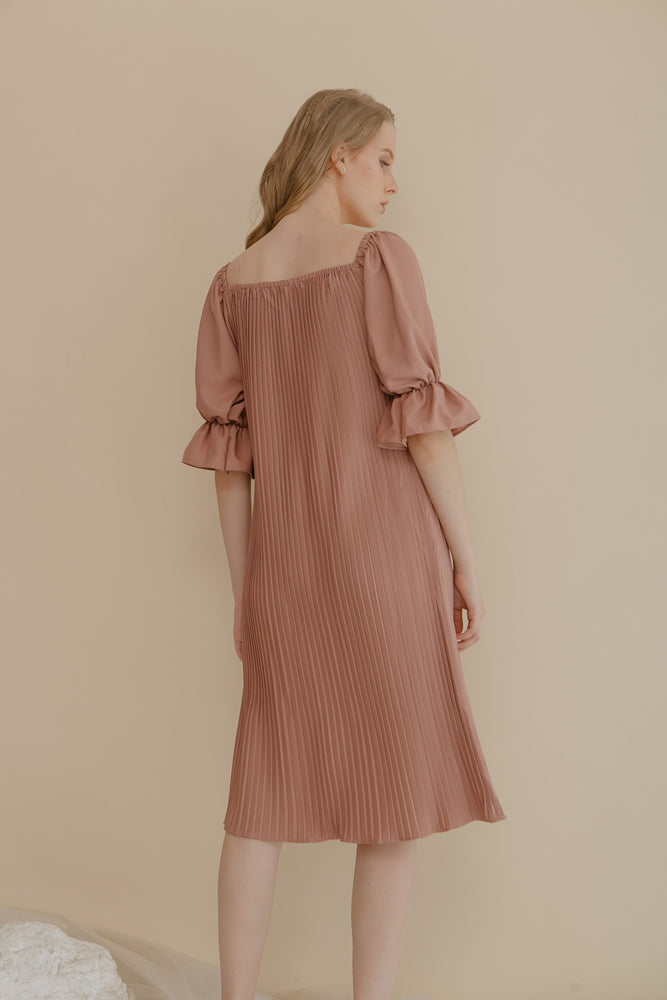 Load image into Gallery viewer, Lauren Blush Pink Pleats Dress