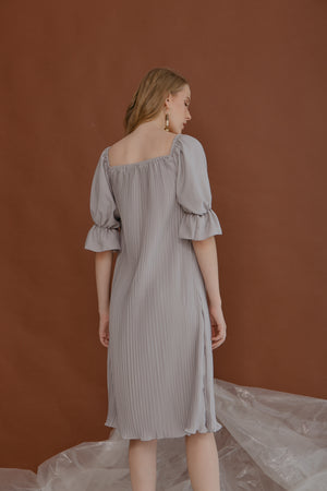 Lauren Grey Pleats Dress