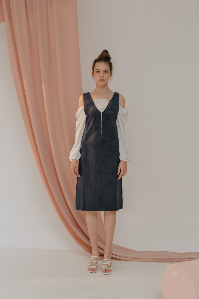 Load image into Gallery viewer, Trilly Navy Velvet Zipper Dress