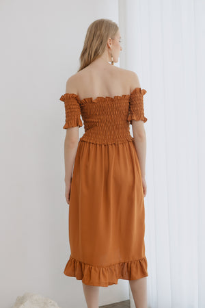 Athena Smock Brown Dress
